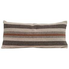 Woven Cotton & Jute Blend Lumbar Pillow w/ Stripes