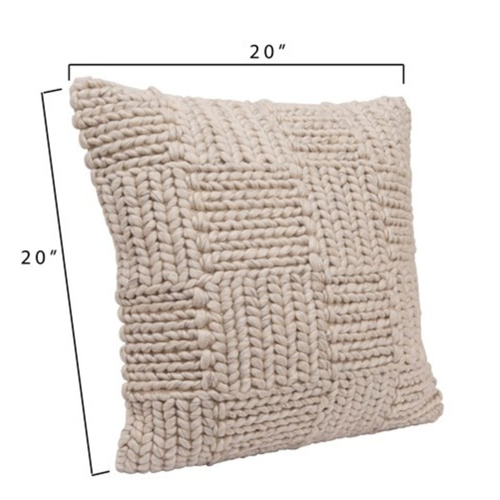 Square Knit Wool Pillow