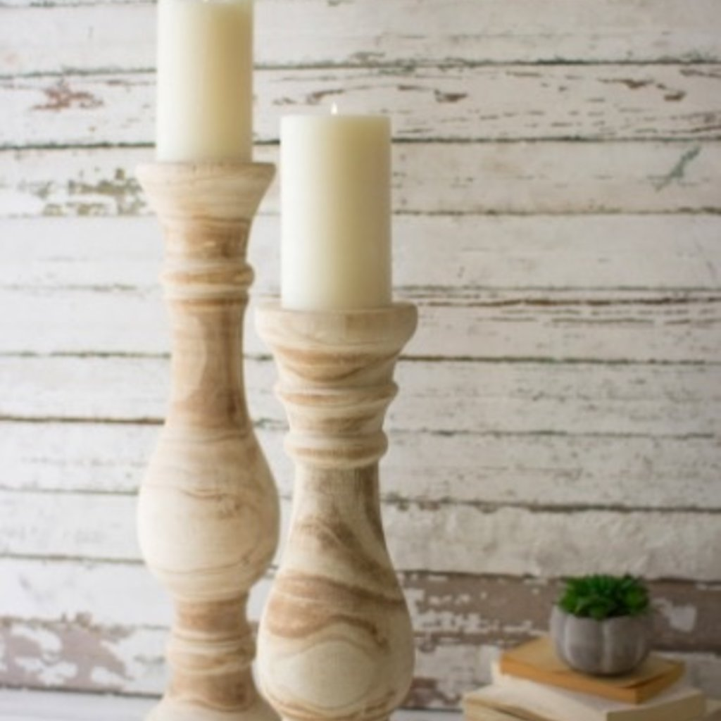 Hand Carved Wooden Candle Stand Set of 2