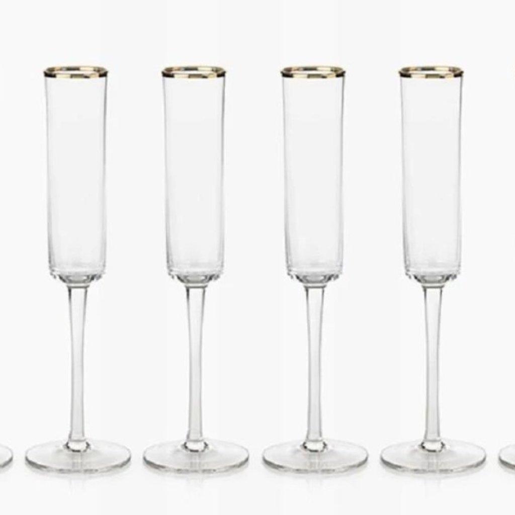 Zodax London Champagne Flute w/ Gold Rim