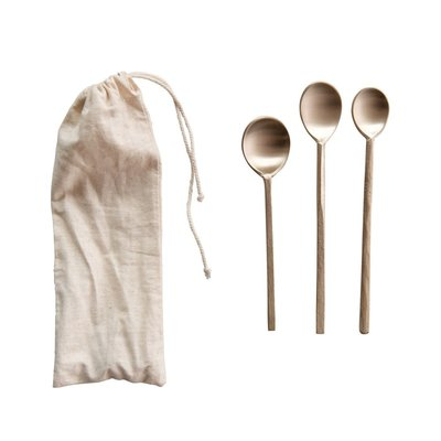 Hand Forged Brass Spoons Set of 3