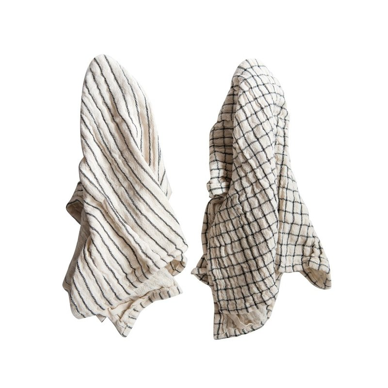 Square Woven Cotton Napkins w/ Plaid & Stripes