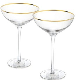 Zodax Martini / Serving Bowl w / Gold Rim