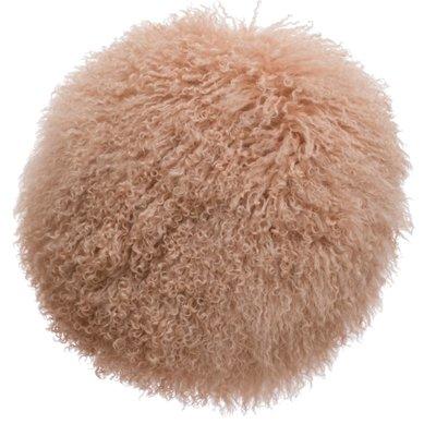 Round Mongolian Lamb Fur Pillow