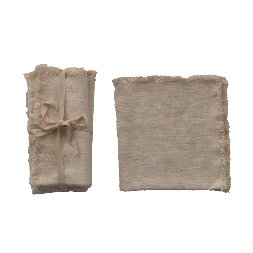 Square Linen Blend Napkin w Fringe Trim Set/4