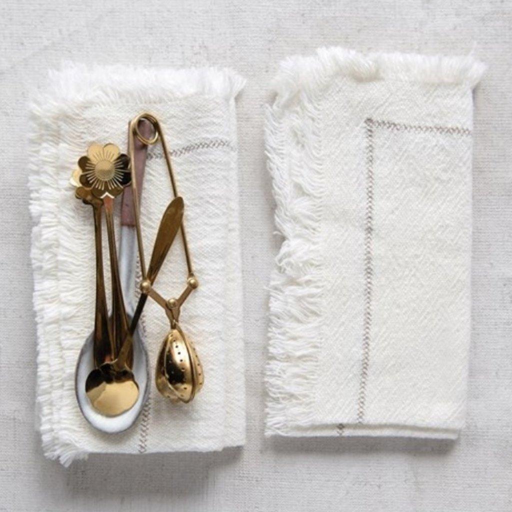 Set of 4 Square Woven Cotton Napkins w Fringe