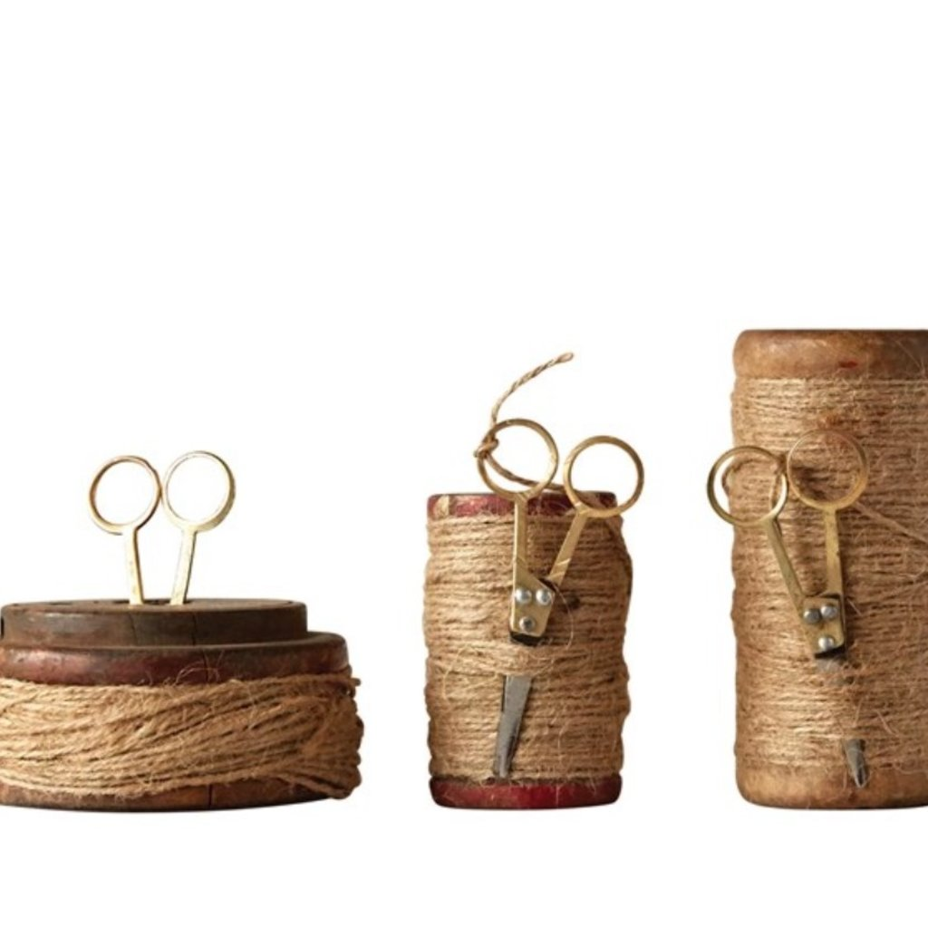 Wooden Spools w Jute & Scissors Large