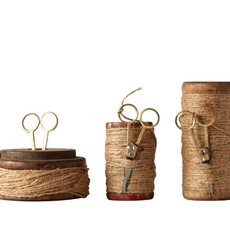 Wooden Spools w Jute & Scissors Small