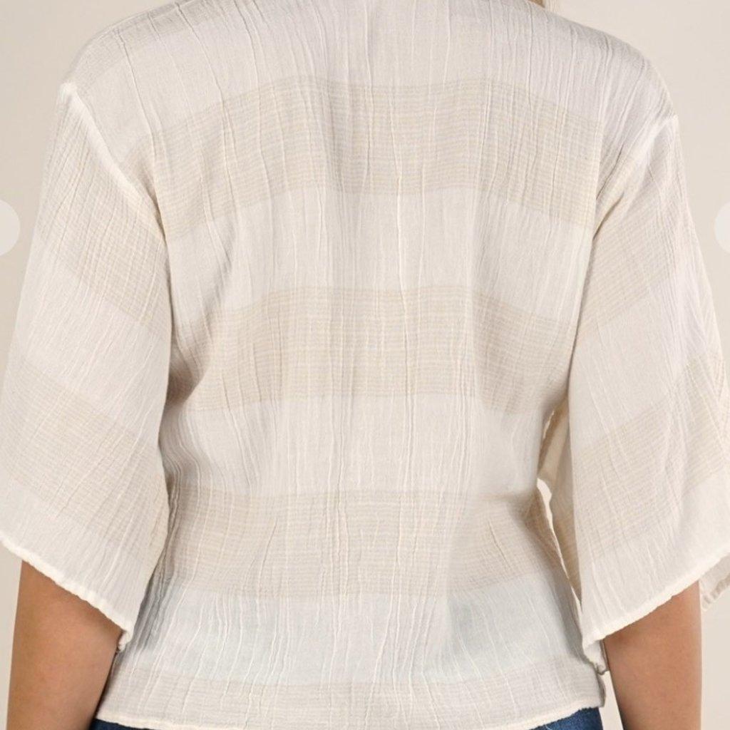 Yarn Dye Tie Front Top