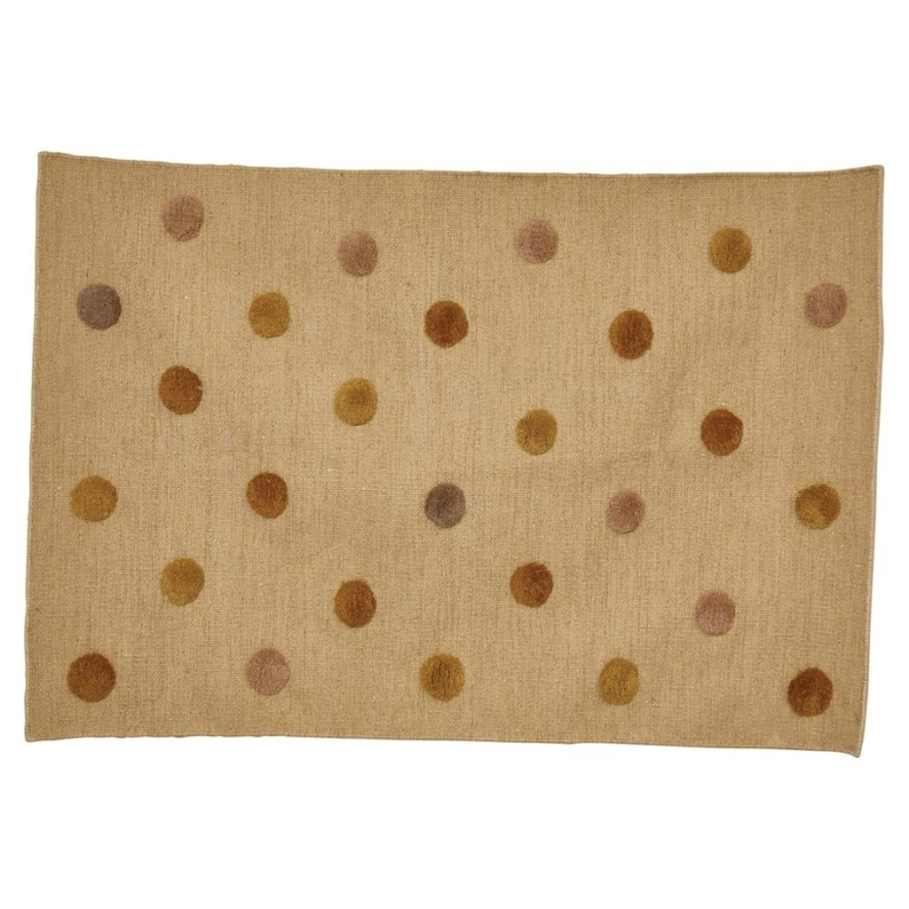 Woven Wool Blend Rug w/ Tufted Multi Color Dots