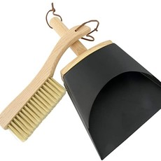 Beech Wood Brush & Metal Dust Pan w/ Leather Straps