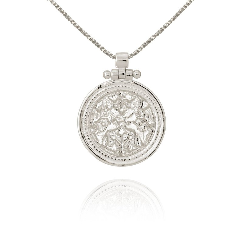 Temple Of The Sun Peacock Silver Necklace