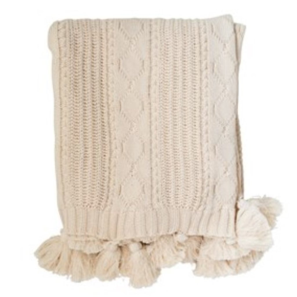 Cotton Knit Cable Throw w/ Tassels