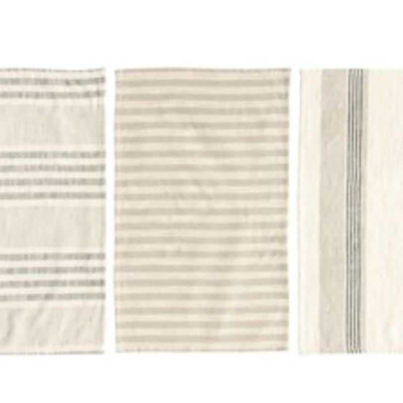 Woven Cotton Striped Tea Towels Set of 3