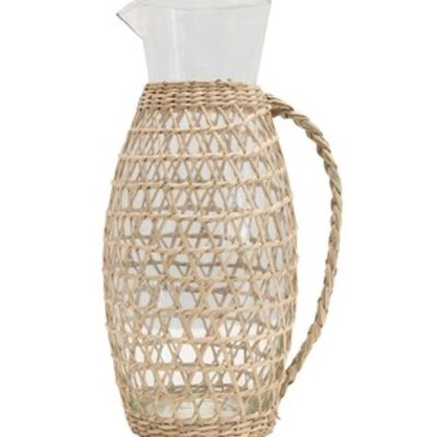 Glass Pitcher w Seagrass Weave