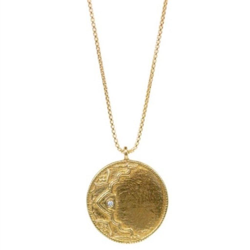 Ayla Necklace Yellow Bronze w Diamond