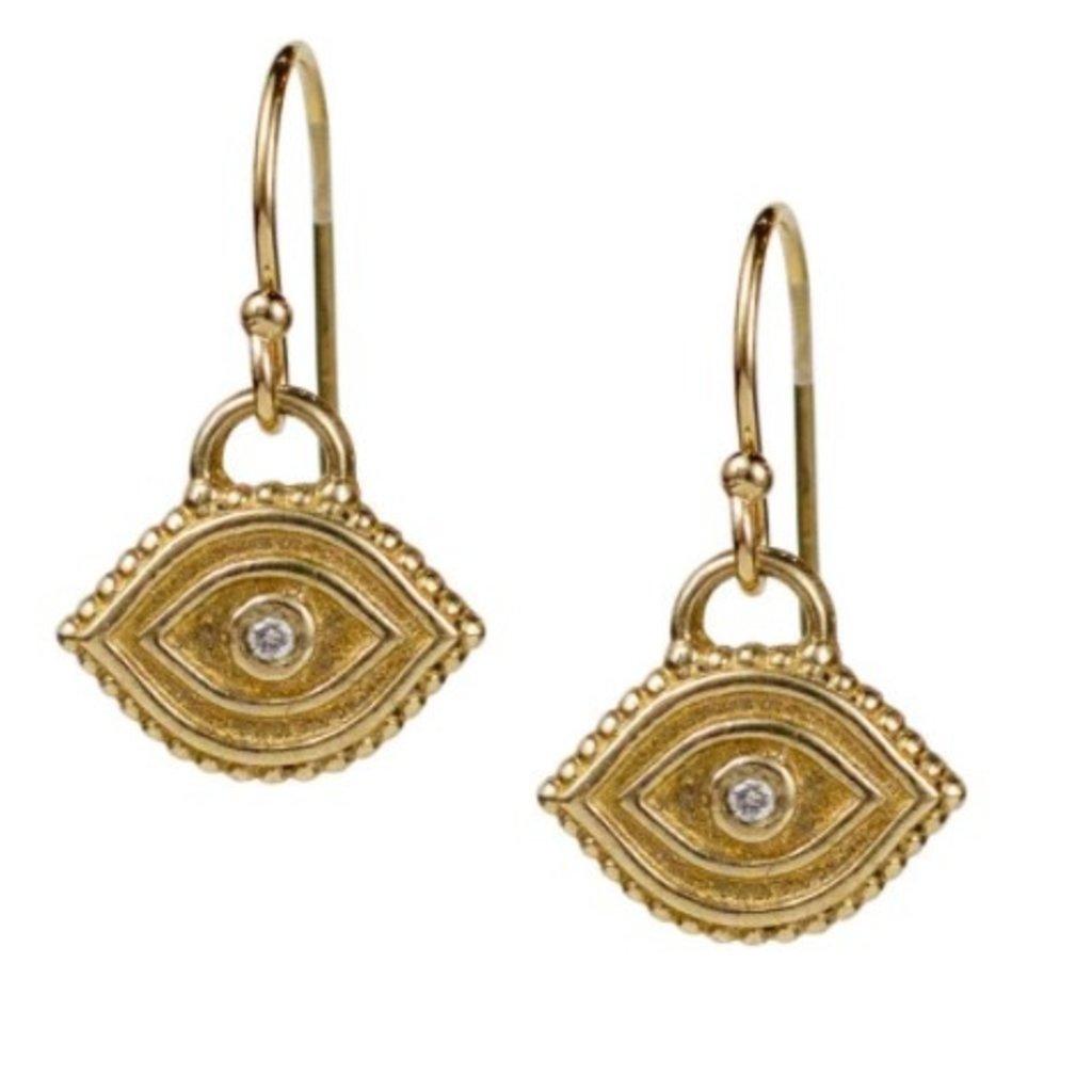 Lulu Seva Earrings Gold Fill w Diamond