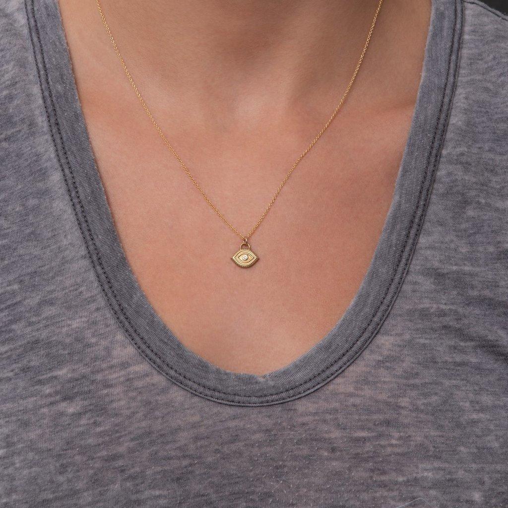 Lulu Seva Necklace Yellow Bronze w Diamond