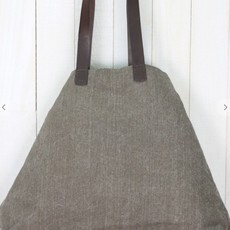 LARGE CANVAS TOTE W/ LEATHER HANDLES & TASSEL DETAIL