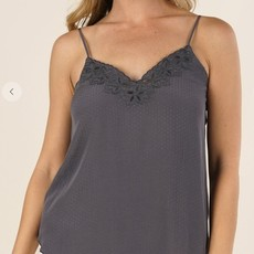 TEXTURED DOBBY CAMI W/ CUTWORK EMBROIDERY DETAIL