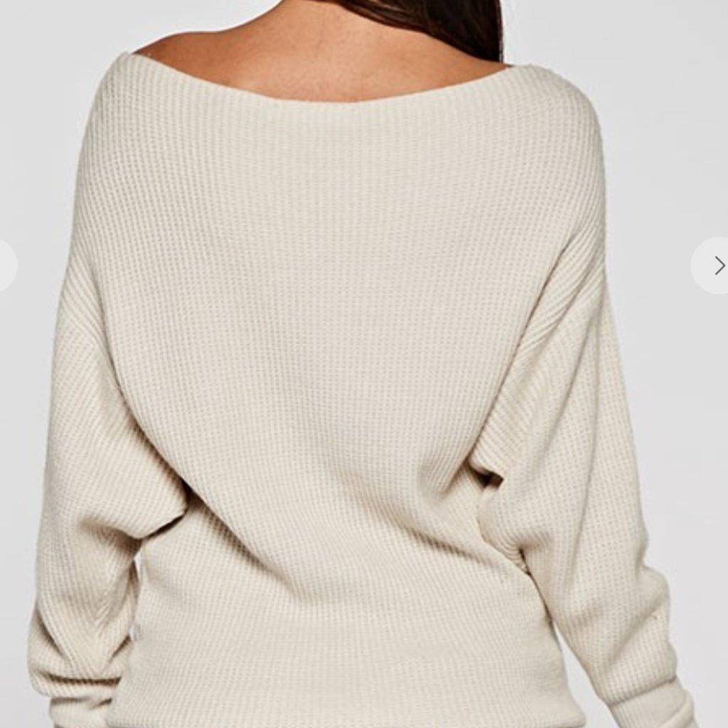 Waffle Knit Slouchy Boat Neck Sweater