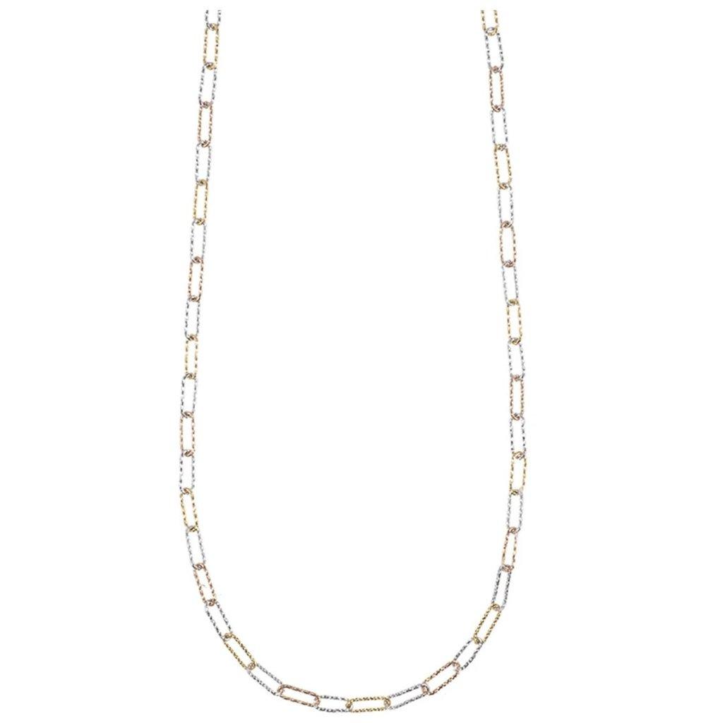 Ashley Schenkein Tokyo Rectangle Link Silver Necklace