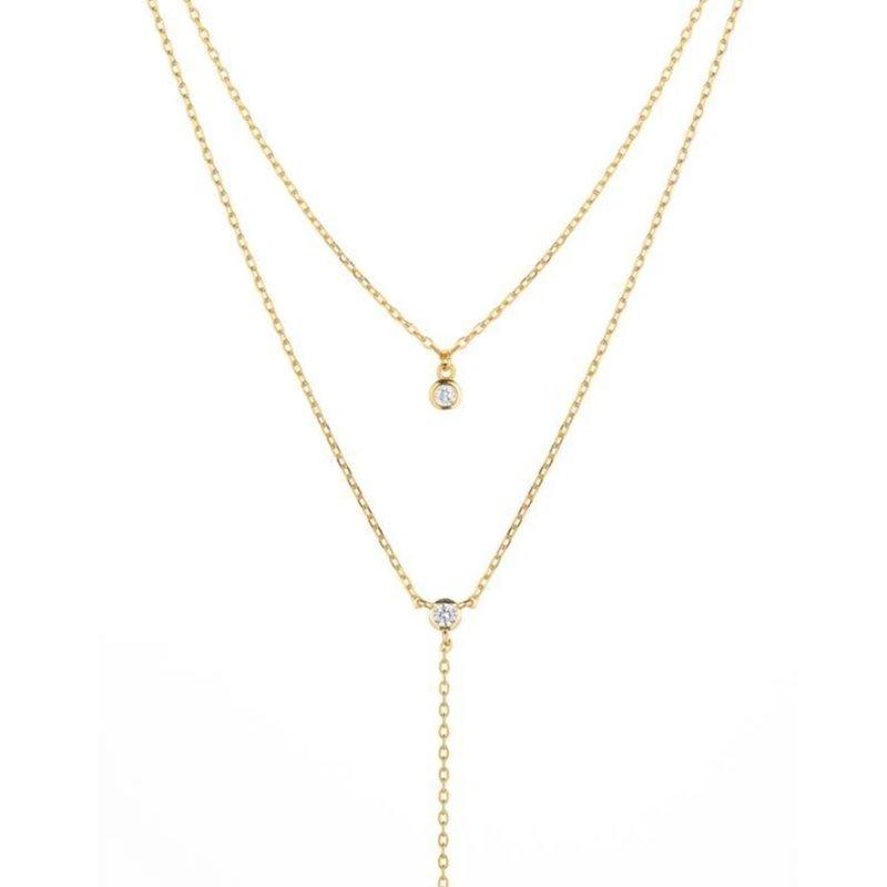 Melrose CZ Double Y Drop Necklace