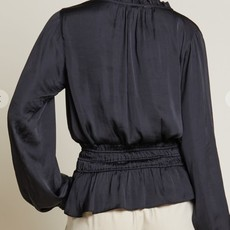 By Together Ruffled Satin Blouse
