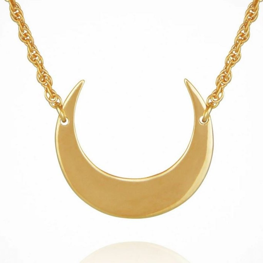 Selene Crescent Gold Moon Necklace