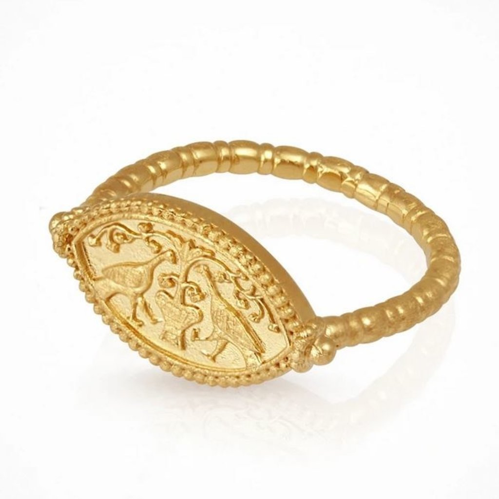 Temple Of The Sun Gaia Gold Ring Size 7.5