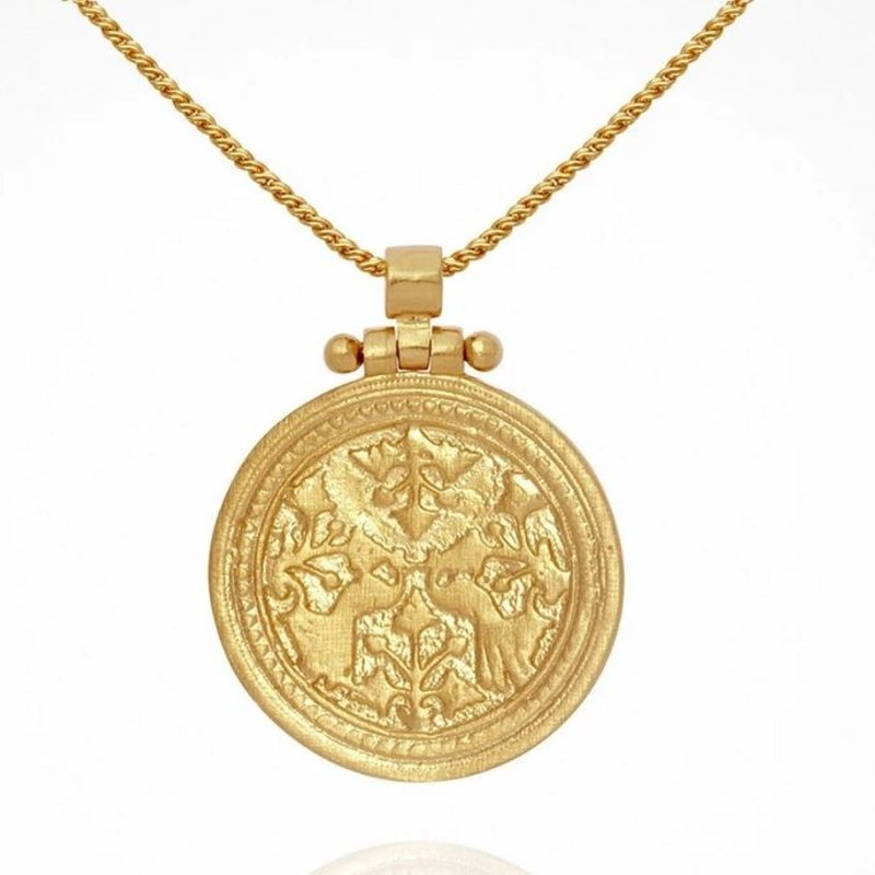 Temple Of The Sun Peacock Gold Necklace