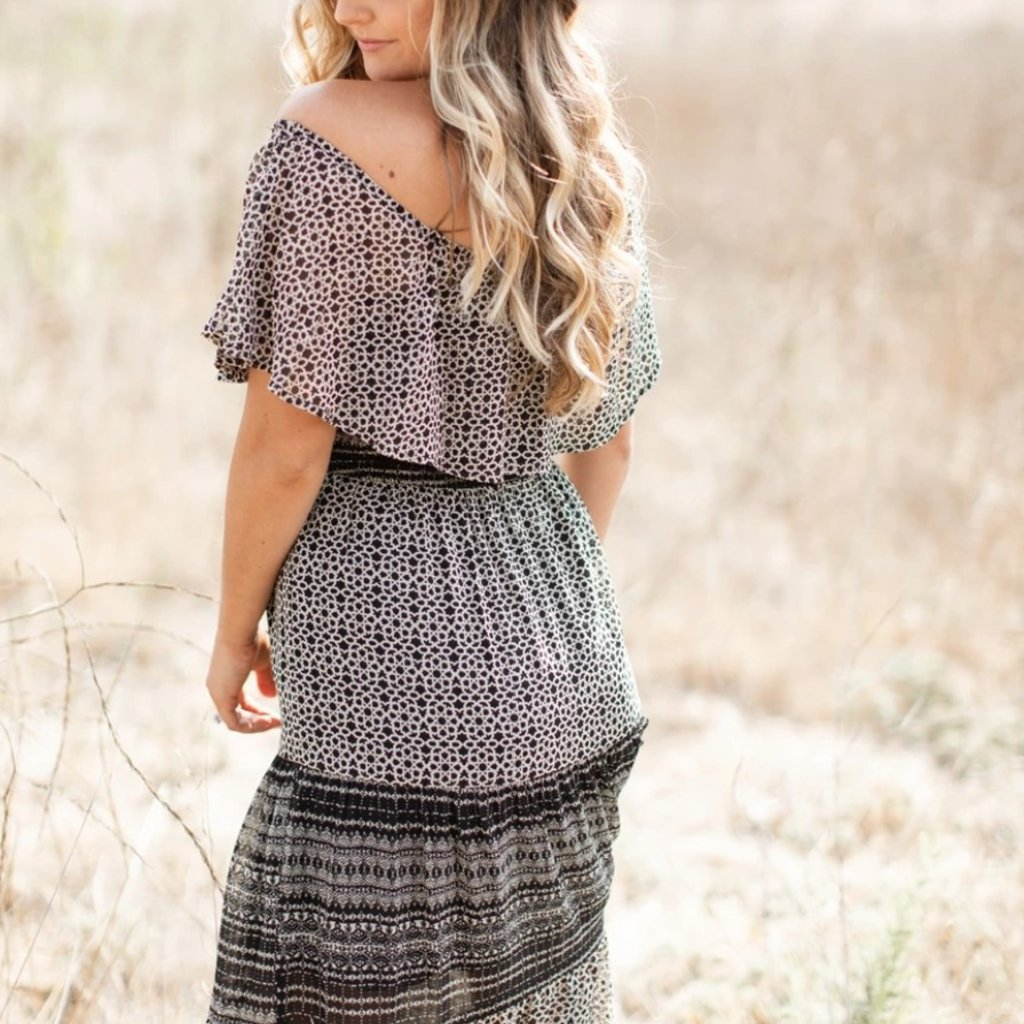 MIX PRINT OFF SHOULDER SMOCKED BODICE TIERED MAXI DRESS