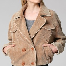 Quarter to Five Double Breasted Notched Collar Corduroy Jkt