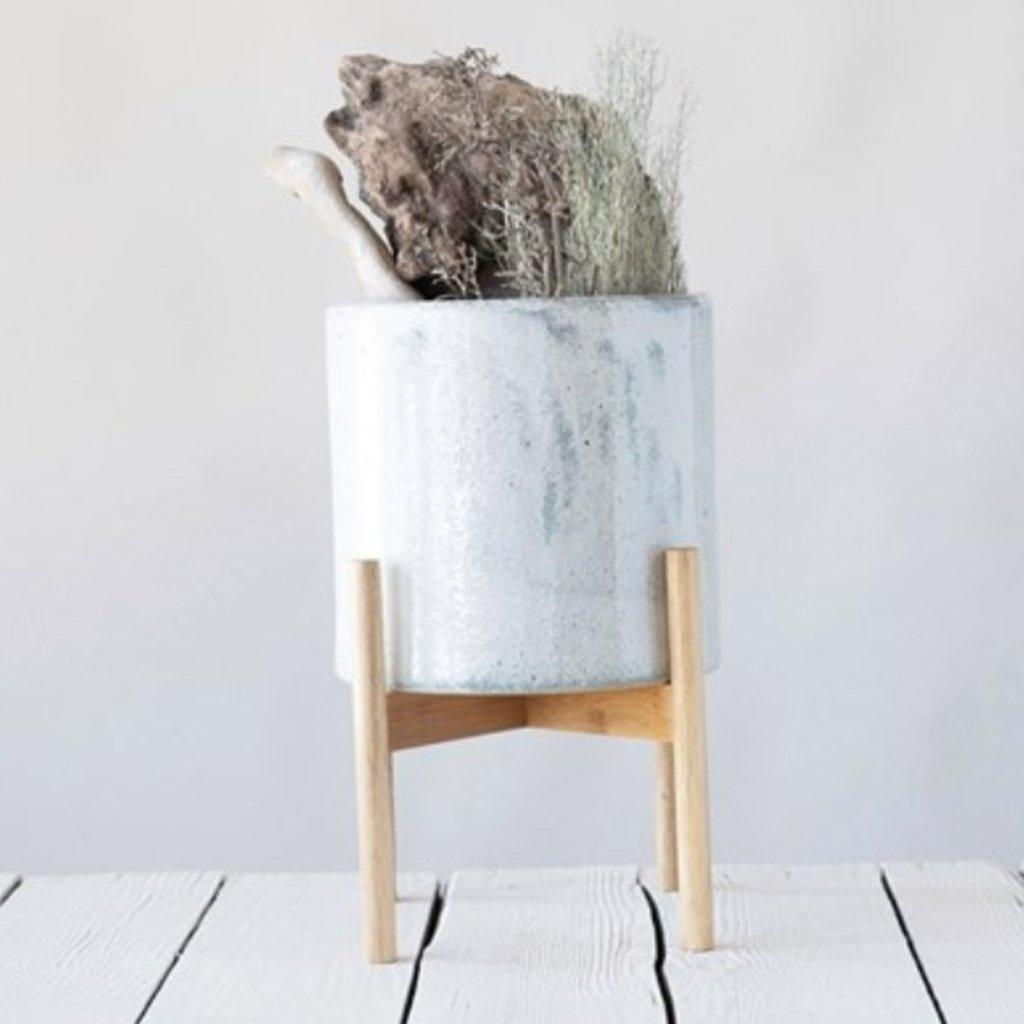 Stoneware Planter w/ Wood Stand