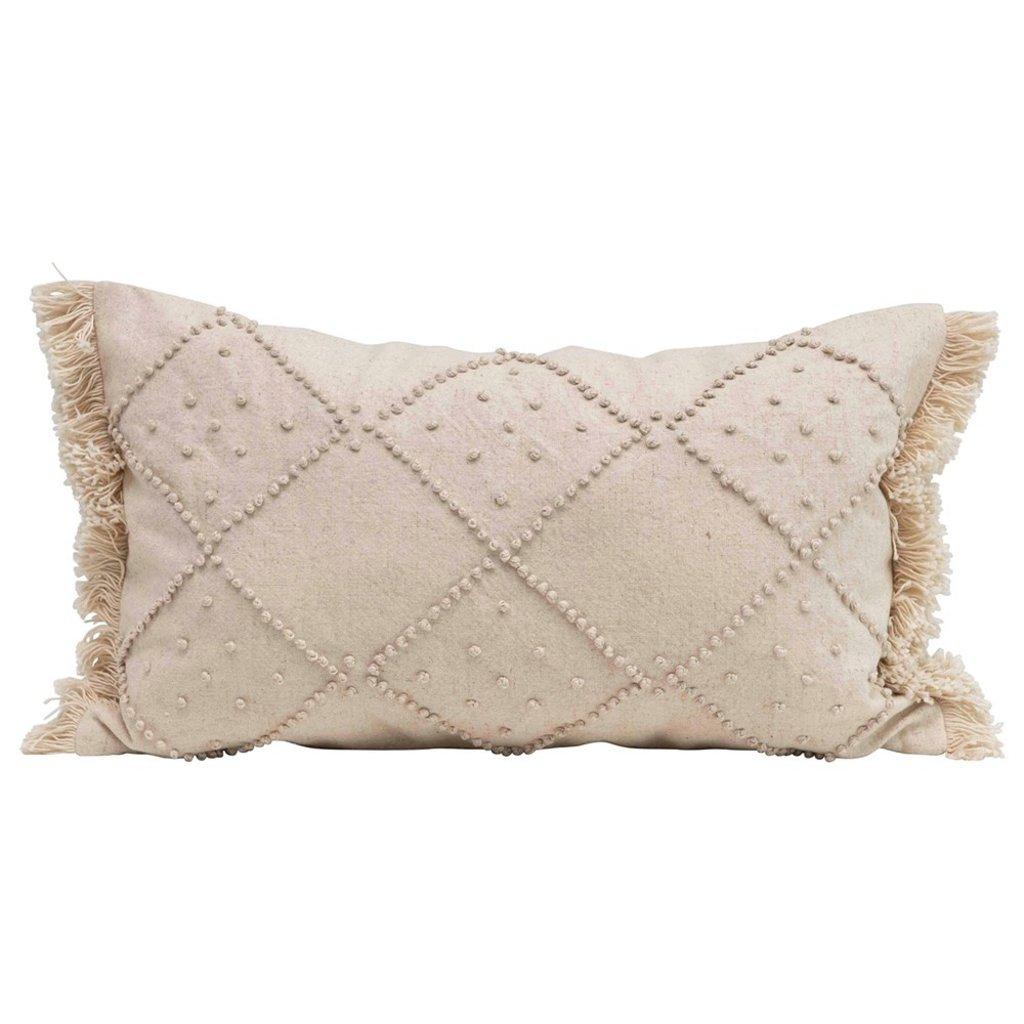 Woven Cotton & Linen Blend Lumbar Pillow w/ French Knots & Fringe