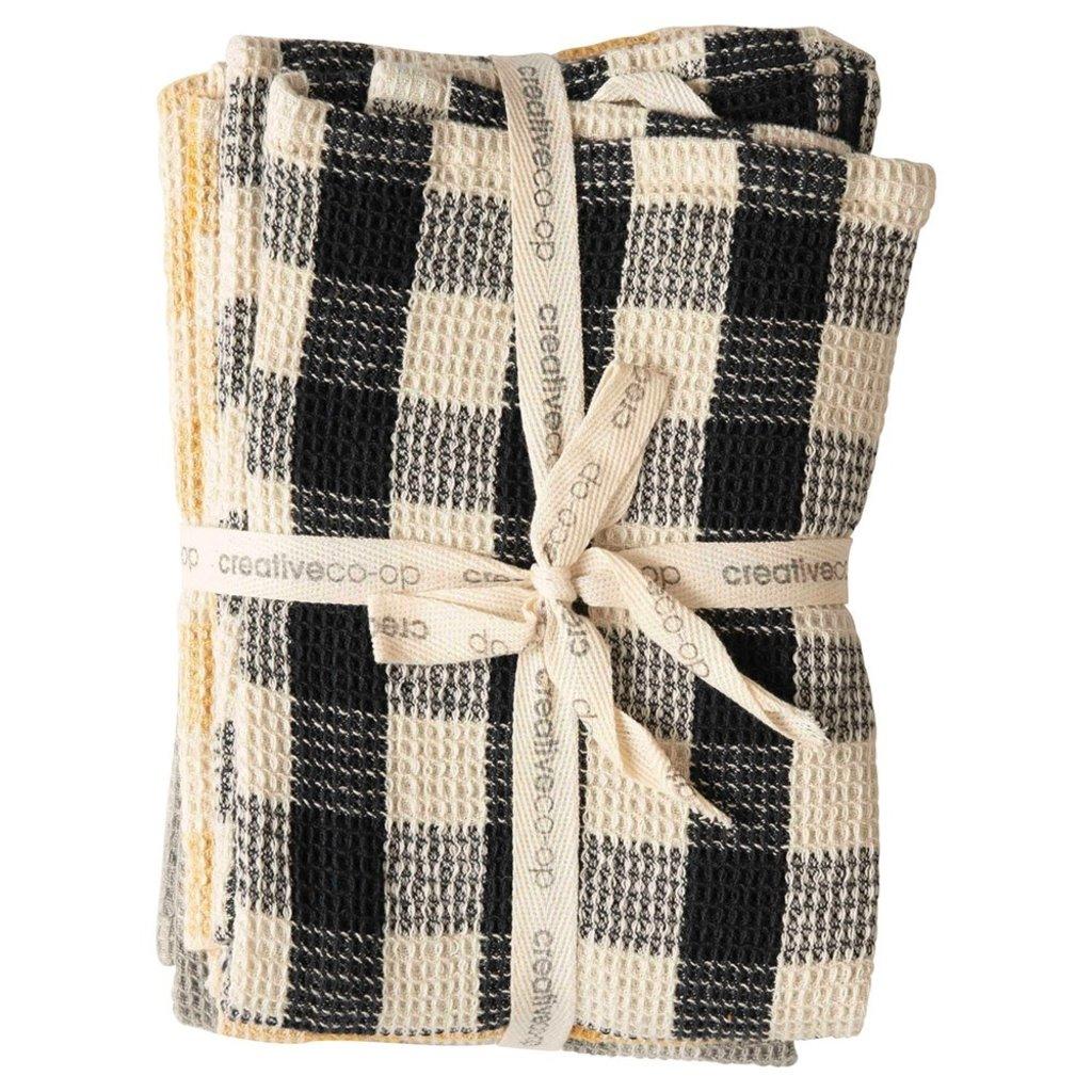 Gingham Cotton Waffle Weave Tea Towels