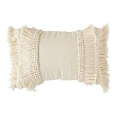 Cotton & Chenille Woven Lumbar Pillow w/ Fringe