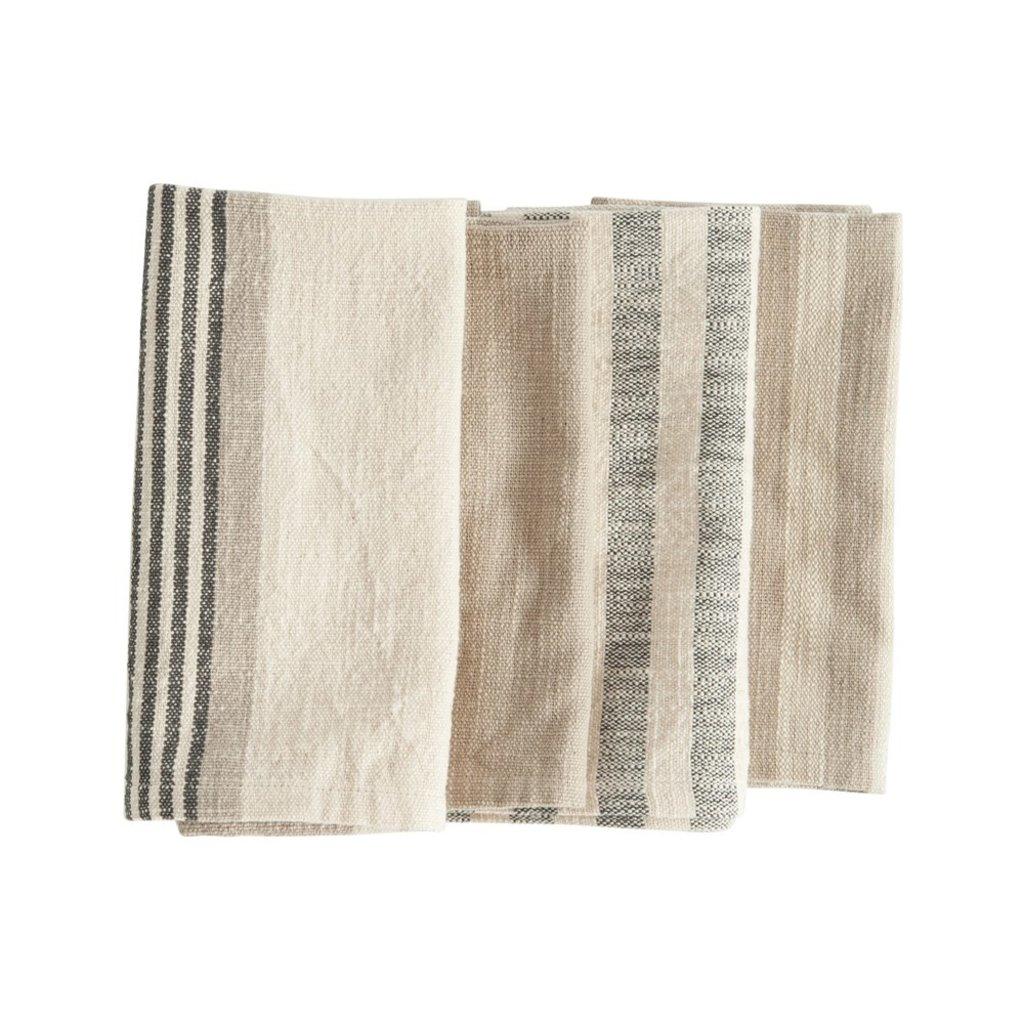 Square Woven Cotton Striped Napkins, Taupe, Black & Cream Set of 4