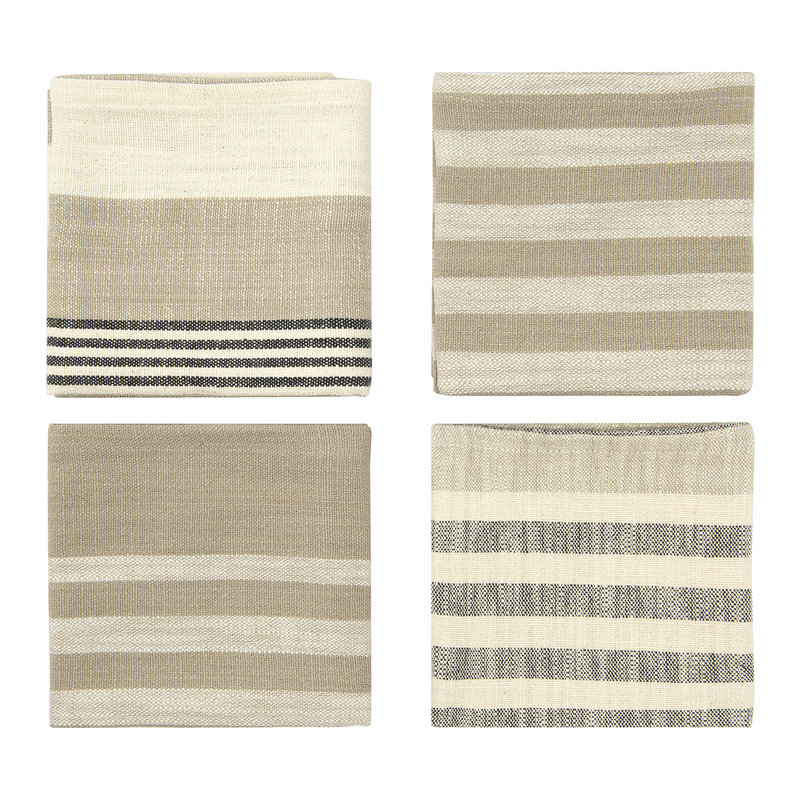 Square Woven Cotton Striped Napkins, Taupe, Black & Cream Set of 4