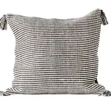 Black Square Cotton Woven Striped Pillow w/ Tassels