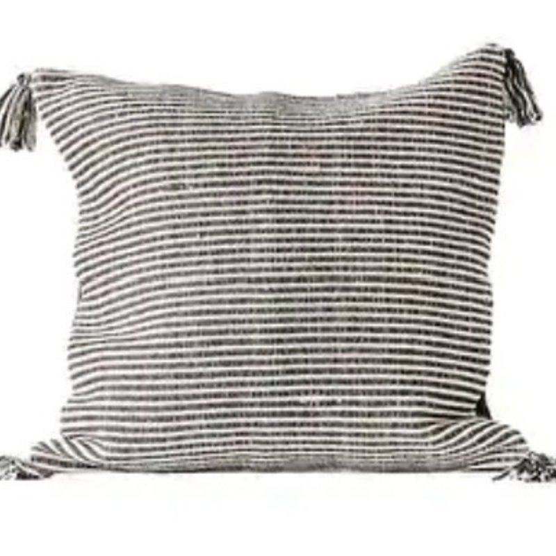 Black Square Cotton Woven Striped Pillow w/ Tassels