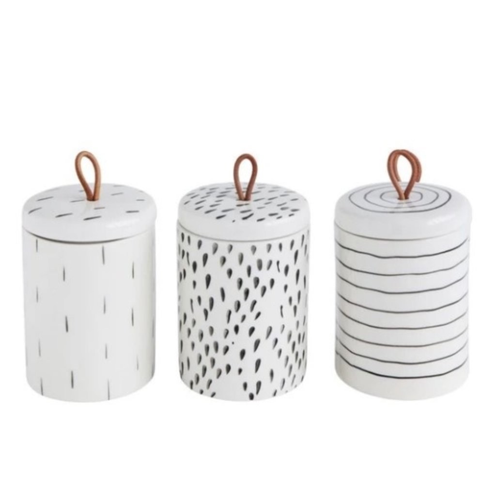Set of 3 Stoneware Containers w/ Lid & Leather Pull