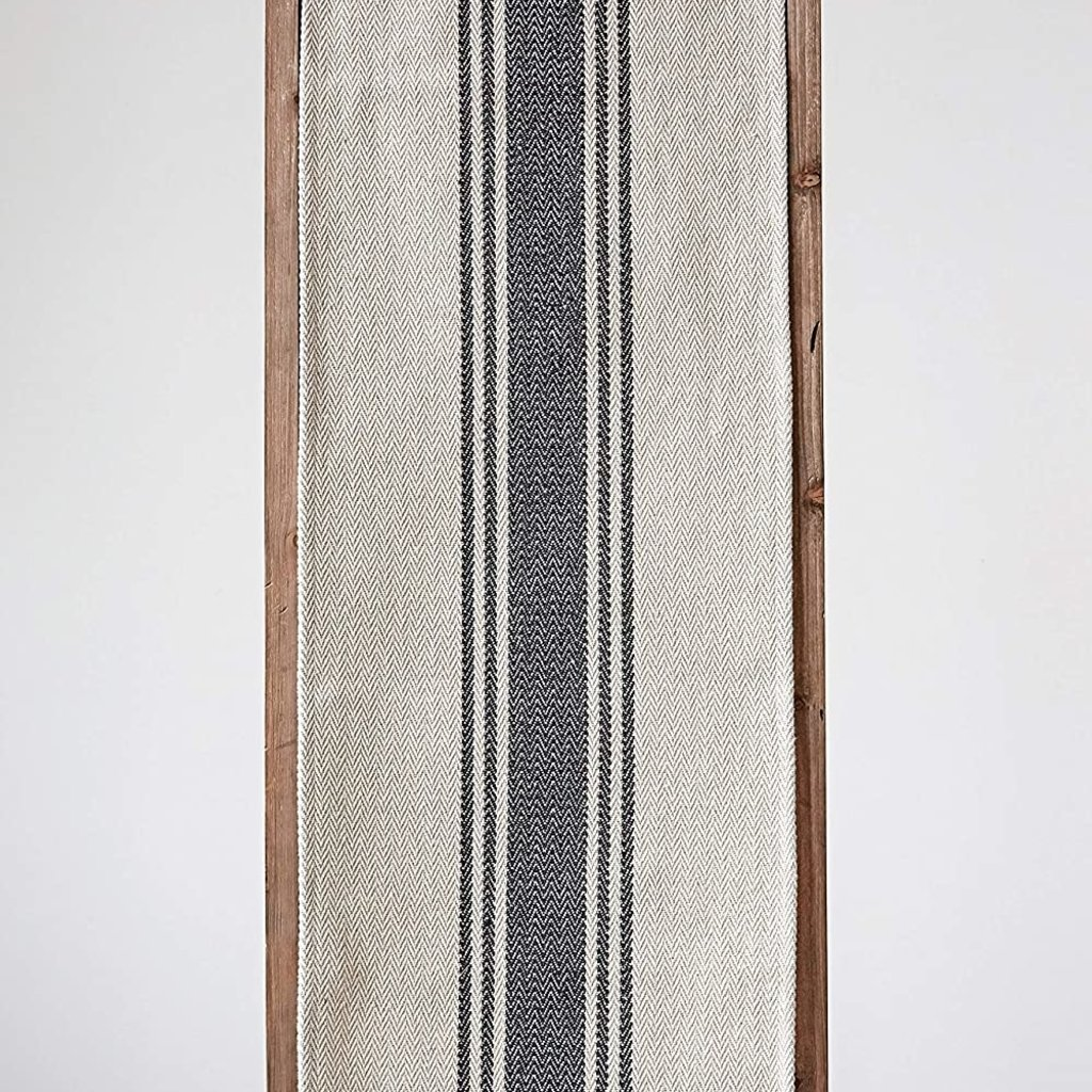 Cotton Canvas Table Runner w/ Stripes