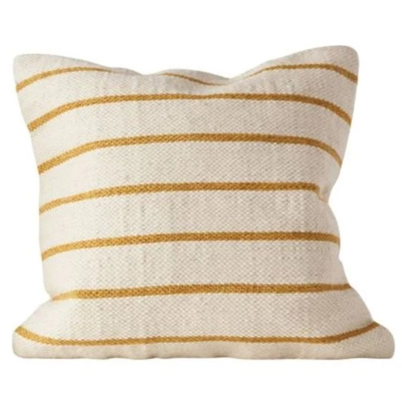"20"" Square Wool Blend Woven Marigold Striped Pillow"