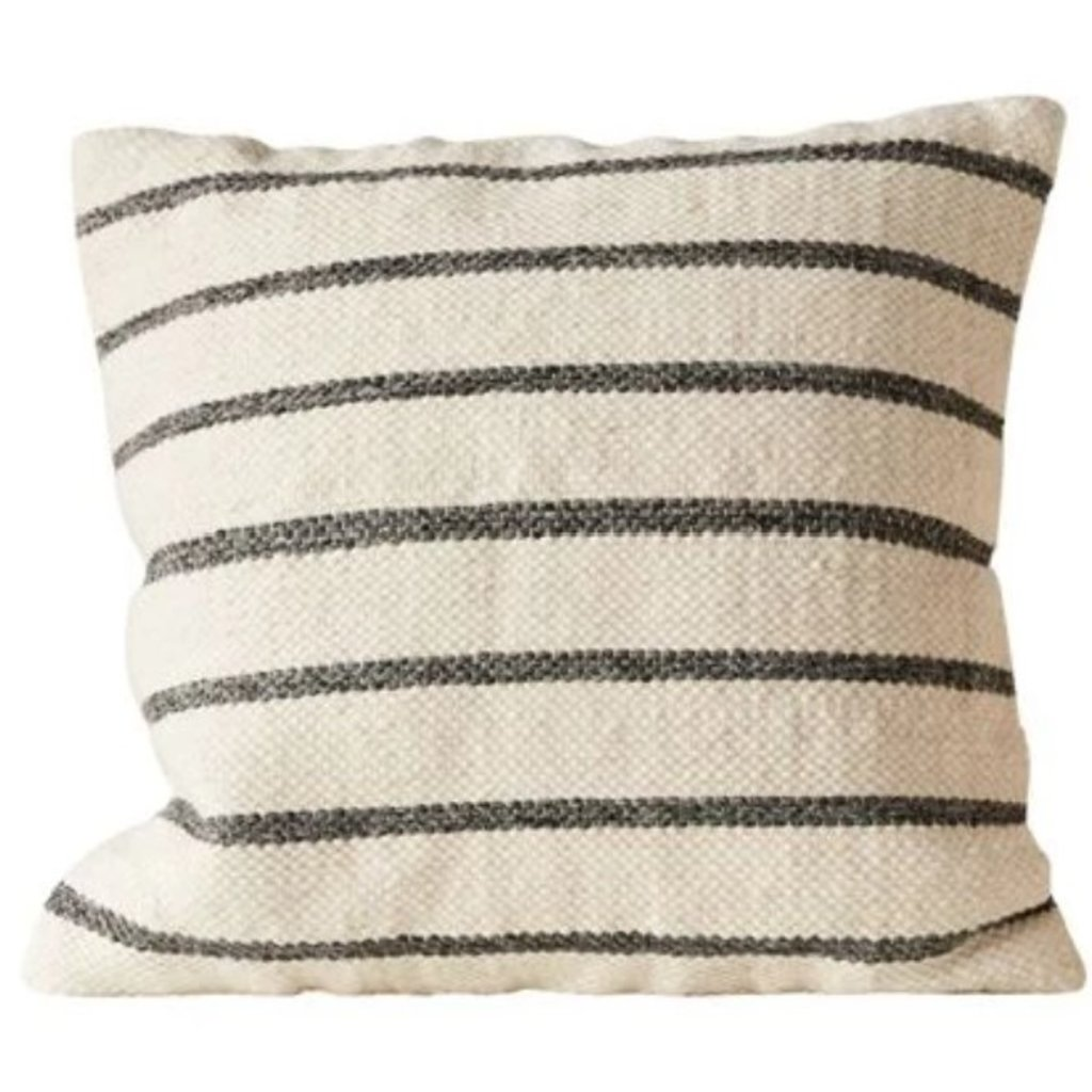 "20"" Square Wool Blend Woven Black Striped Pillow"