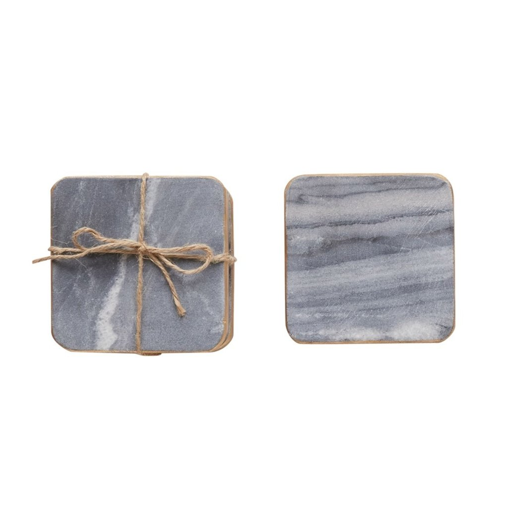 Square Marble Coasters Grey w/ Gold Edge