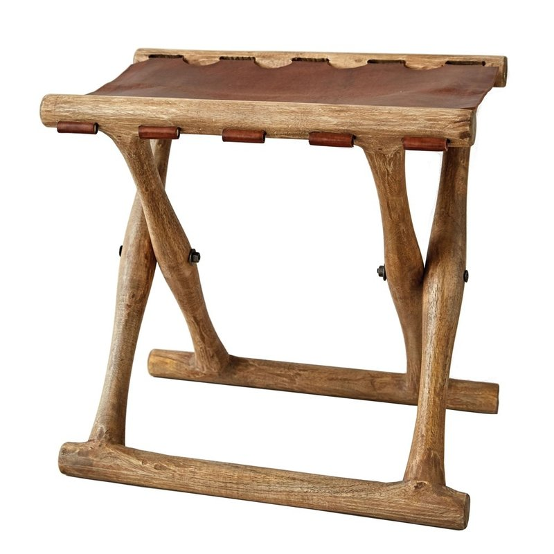 Mango Wood & Leather Folding Stool
