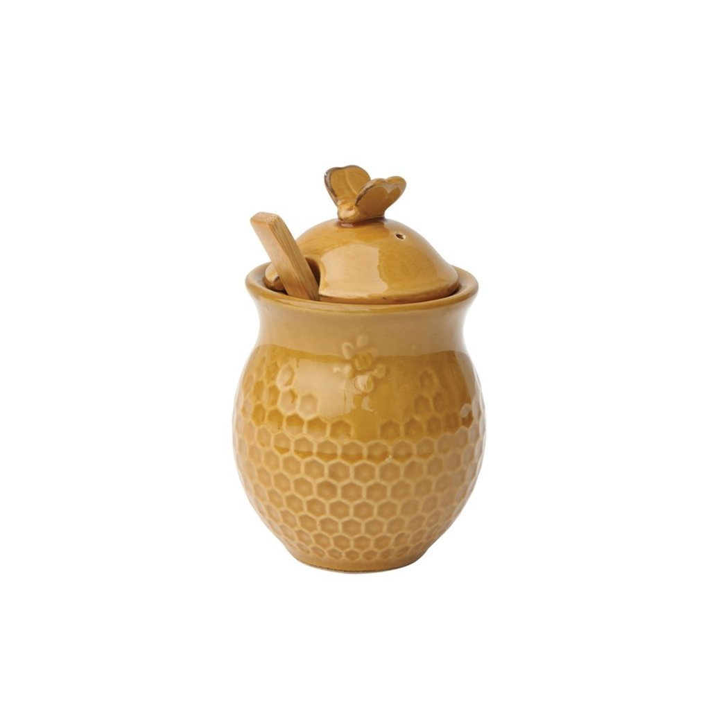 Ceramic Honeycomb Honey Jar w/ Wood Honey Dipper
