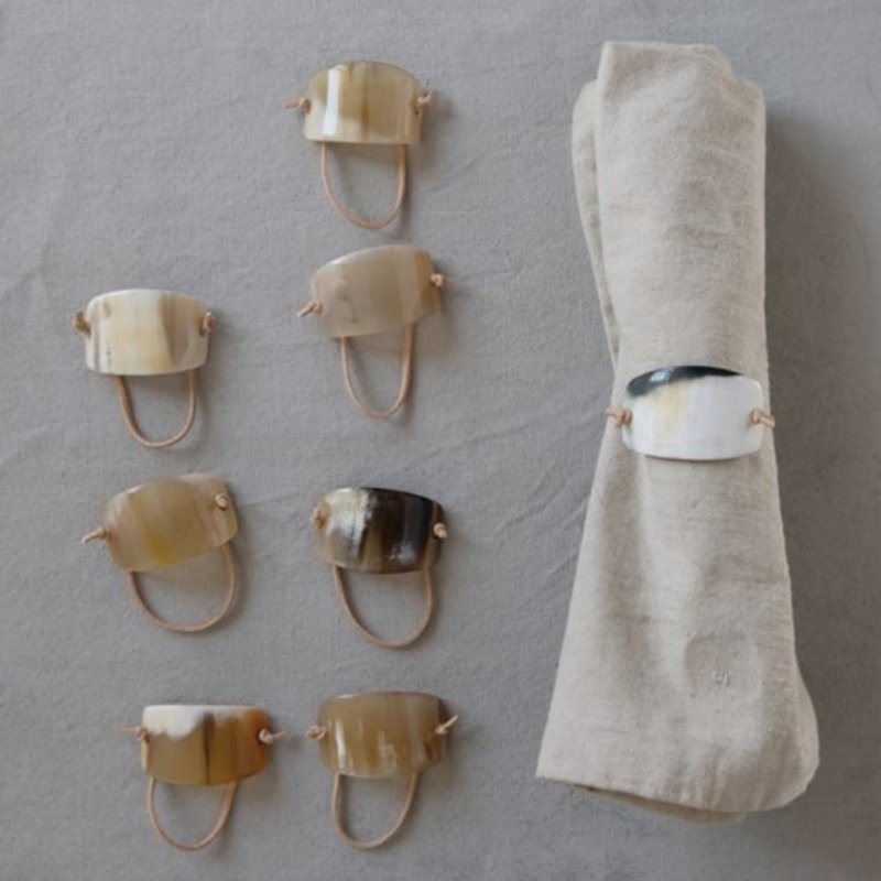 Assorted Horn & Suede Napkin Ring Set of 4