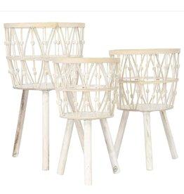 Medium Whitewash Bamboo Wood Basket w/ Legs
